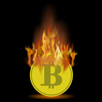 Burning Gold Bitcoin Icon on Black Background