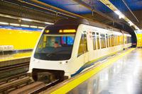 Madrid metro train station. Spain