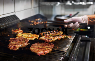 Assorted meat on the barbecue grill