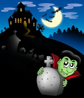 Vampire with haunted mansion - color illustration.