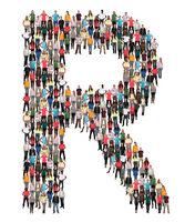 Buchstabe R Alphabet Leute Menschen People Gruppe Menschengruppe