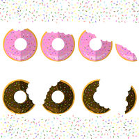 Sweet Glaze Pink and Brown Donuts on Sparkles Background. Fast Food Icon Flat Design. Top View.