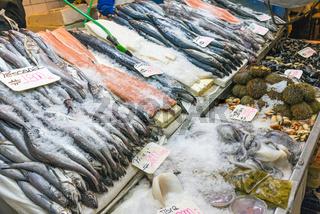 Meeresfrüchte und Fisch auf einem Markt