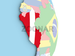 Peru with flag on globe
