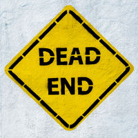 dead end road sign, grunge style