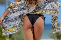Bikini Model Posing In A Beach Environment