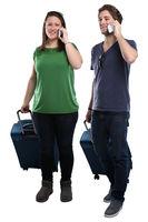 Junge Leute Menschen Telefon telefonieren Handy Reise reisen verreisen Urlaub Freisteller