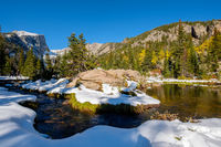 Rocky Mountain National Park in snow at autumn