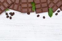 Schokolade Milchschokolade Tafel Essen Textfreiraum von oben