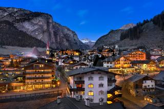 Selva Val Gardena in the Evening, Val Gardena, Dolomites, Italy