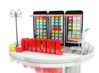 3d E-commerce, Smartphone with mobile app stores.