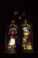 Stained glass in village Rocamadour in France
