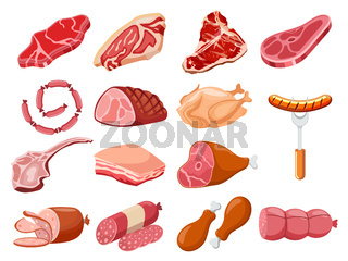 Meat set vector. Fresh meat icons set.