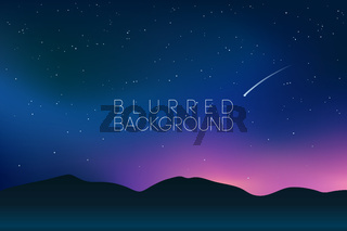 horizontal wide blurred mountain night stars sky background - night colors with a falling star, comet