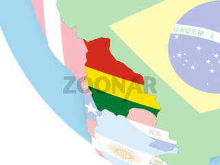 Bolivia with flag on globe