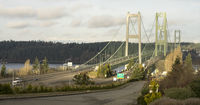 Commuters Travel Back and Forth Tacoma Narrows Bridges Tacoma