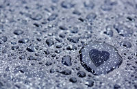 Water drops and heart reflection.