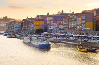 Porto quayside at sunset, Portugal
