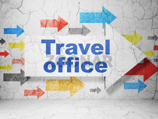 Travel concept: arrow with Travel Office on grunge wall background