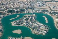 Aerial view of an island in Doha