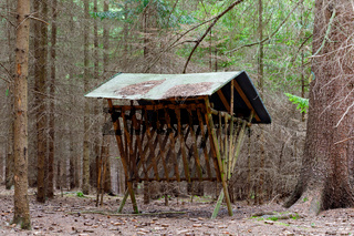 Feeder with roof for roe deer