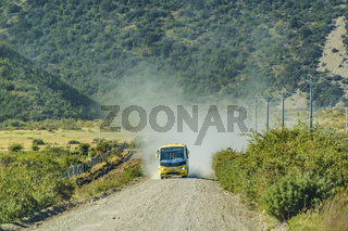 Tourist Bus at Austral Route, Patagonia, Chile