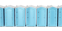 Portable plastic toilets on white