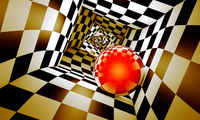 Red ball in a chess tunnel. Predetermination. The space and time. 3D illustration.
