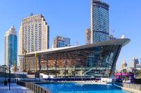 DUBAI, UAE - NOW 29: Dubai Opera Arts Centre, as seen on Now 29, 2017 at The Opera District in Downtown, Sheikh Mohammed bin Rashid Boulevard, Dubai, United Arab Emirates