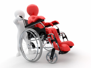 Men on wheelchair on white isolated background. 3d