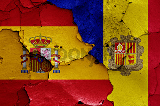 flags of Spain and Andorra painted on cracked wall