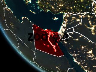 Satellite view of Egypt at night
