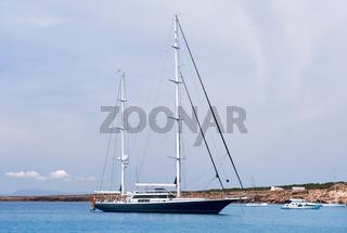 Vessels at Cala Saona bay in Formentera. Balearic Islands. Spain