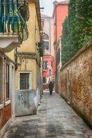 Famous romantic narrow streets of Venice in Italy