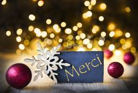 Christmas Background, Lights, Merci Means Thank You