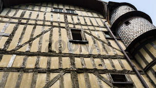 old half-timbered house with tower in Troyes