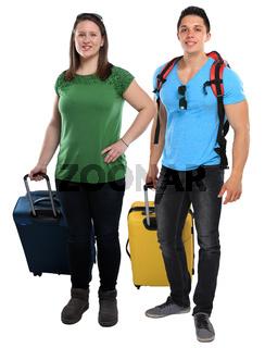 Urlaub junge Leute Menschen mit Koffer Reise reisen verreisen jung lachen Freisteller