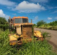 Abandoned truck by old sugar mill at Koloa Kauai