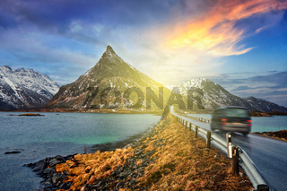 Car on road in Norway