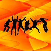 Springende Menschen vor Wellen-Hintergrund in rot-