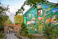 The house painted by fantastic graffiti at the entrance to Christiania in Copengagen.