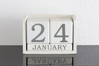 White block calendar present date 24 and month January
