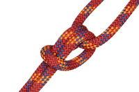 rotes nylonseil mit Knoten