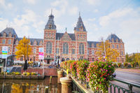 Rijksmuseum with people in Amsterdam, Netherlands