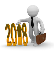 Golden 2018 business upswing concept
