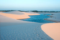Lagoons in the desert of Lencois Maranhenses National Park, Brazil