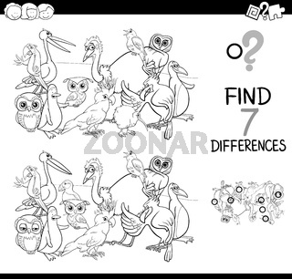 find differences with birds coloring book