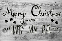 Black Calligraphy Merry Christmas And Happy New Year, Gray Background