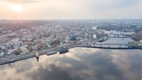 Aerial top view of Dnepr river and Podol district from above, Kiev (Kyiv) city, Ukraine