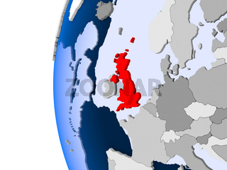 Map of United Kingdom on political globe